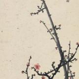 何香凝1944年作《红梅》立轴