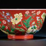 清雍正珊瑚红地洋彩九秋同庆花卉纹碗一对