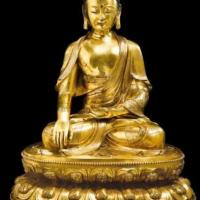 """明十五/十六世纪鎏金铜""""释迦牟尼佛""""坐像"""