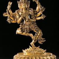 明宣德鎏金铜四面八臂金刚瑜伽女立像