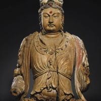 宋十二 / 十三世纪木雕加彩观音菩萨半身像