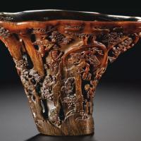 清十七 / 十八世纪 犀角雕群仙祝寿图杯