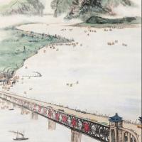周怀民1985年作《长江大桥》镜心
