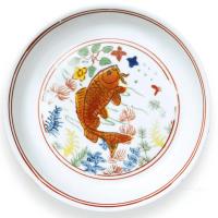 明嘉靖五彩鱼藻纹盘