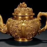 清中期金质春色满园茶壶