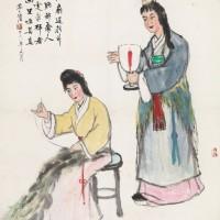 关良(1900~1986)1978年作晴雯补裘
