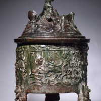 汉绿釉博山炉