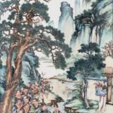王大凡禹王治水图粉彩瓷板