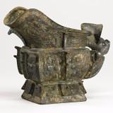 商晚期青铜饕餮夔龙纹觥