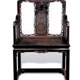 清乾隆紫檀雕西蕃莲太师椅