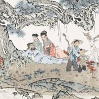 范曾辛未(1991)年作 祥鹿图