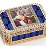 嵌有珠宝的瑞士珐琅黄金自动音乐鼻烟盒