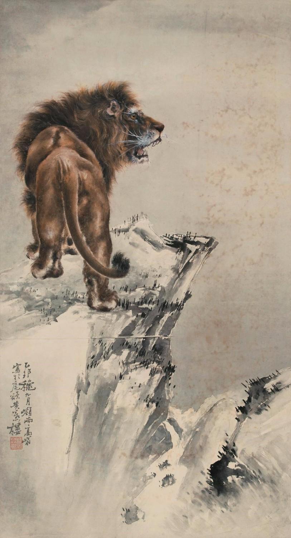 高奇峰乙卯(1915年)作《雄狮》立轴