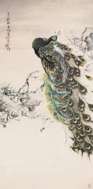 高奇峰1917年作《长松孔翠》立轴