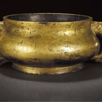 明涌泉款铜鎏金兽耳炉