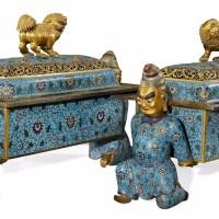 清中期铜胎掐丝珐琅胡人献宝狮钮大熏炉