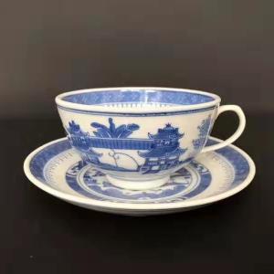 新中国创汇期青花山水纹杯碟交易价格