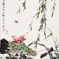 王雪涛戊午(1978年)作《柳莺红荷》 立轴