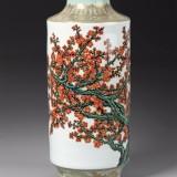 张松茂《老梅开花》粉彩瓷瓶