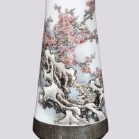 张松茂 雪梅粉彩瓷瓶