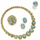 绿松石配钻石项链、别针、戒指及耳环套装
