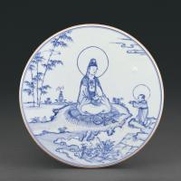 明成化 青花水月观音图瓷板