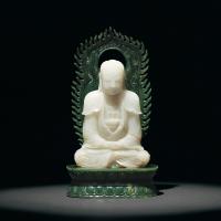 清乾隆 青白玉雕释迦牟尼佛坐像