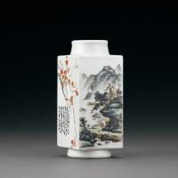 民国 珠山四友绘粉彩山水花鸟图琮式瓶