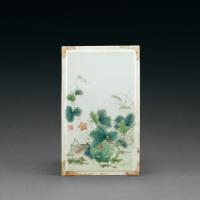 民国 吴蔼生绘粉彩草蔬图瓷板