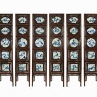清光绪花梨镶西厢记瓷板屏风一组八屏