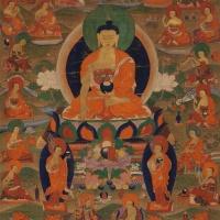 18世纪释迦牟尼与十八罗汉唐卡