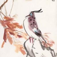 李琼久 红叶珍禽 花鸟画