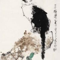 秦天柱 猫石图