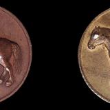 民国时期天津造币厂铸造马钱红铜、黄铜质各一枚