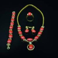 清 包金珊瑚项链、手链、戒指、耳钉一组四件