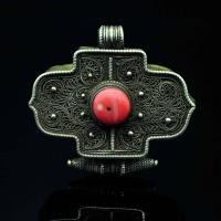 19世纪 银掐丝嵌珊瑚嘎乌盒
