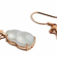 翡翠玻璃种葫芦耳环