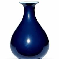 清乾隆 霁蓝釉玉壶春瓶