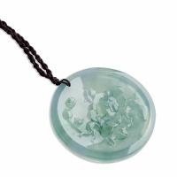 翡翠高冰种飘花牡丹圆形挂件-1