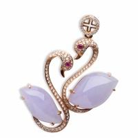 紫罗兰翡翠天鹅挂件