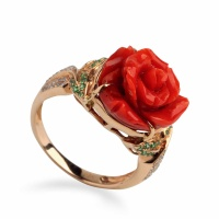 台湾阿卡红珊瑚玫瑰花戒指