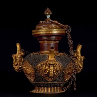 18世纪 錾银云纹铜鎏金佛前供炉