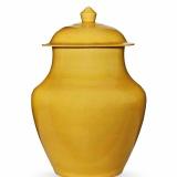 清康熙 黄釉盖罐
