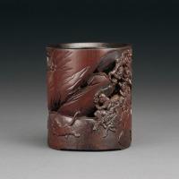 清早期 竹雕狩猎图笔筒