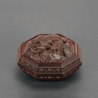 清晚期 硬木高浮雕山水人物图八方印泥盒