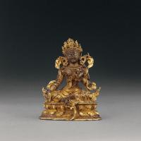 清早期 铜鎏金绿度母像