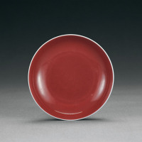清雍正 霁红釉盘