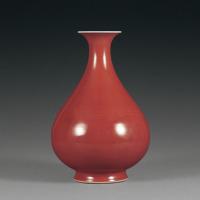 清乾隆 霁红釉玉壶春瓶