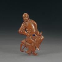 清晚期 黄杨木雕人物肖像