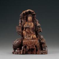 清 黄杨木雕观音童子像
